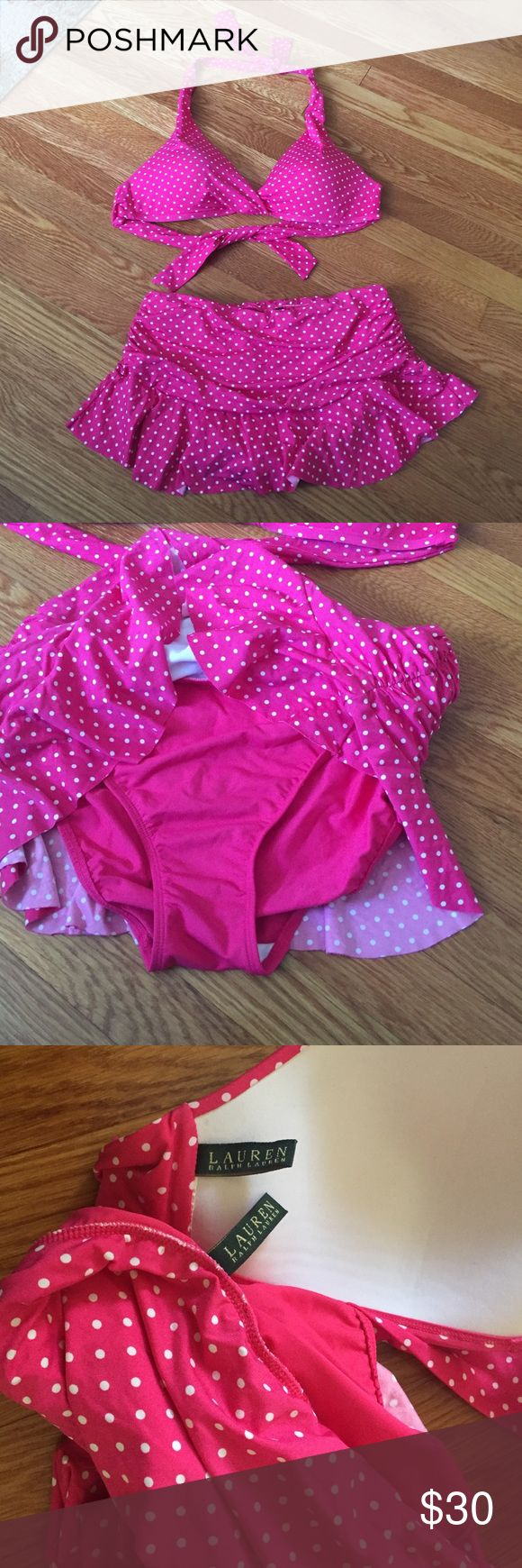 Ralph Lauren Bikini Never worn! NW/oT. Beautiful Ralph Lauren bikini. Pink with little white polka dots. Full coverage style bikini top. The bottom is a skirt with a bikini bottom attached to the inside. Perfect condition, except that I cut off the tags with the size. I would say it's a large/extra large. Lauren Ralph Lauren Swim Bikinis