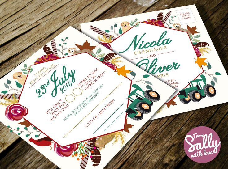An RSVP postcard for Nicola and Oliver's rich, autumnal wedding invitations, which include illustrations of cats, dogs, pheasants, feathers, leaves, wheat and flowers. #autumn #wedding #invitation #love #engaged #square #illustrated #somerset #professional #bespoke #sherbourne #roseandcrown #tractor #feathers #roses #leaves #cats #dogs #wheat #pheasant #map #weddingmap #rsvppostcard #flowers #roses http://www.fromsallywithlove.co.uk