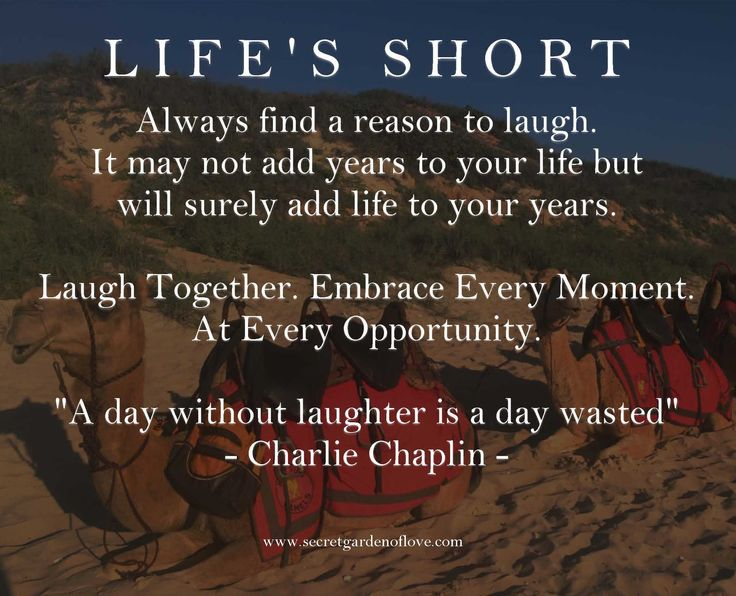 A day without laughter is a day wasted. Always find a reason to laugh. It may not add years to your life but will surely add life to your years.  Discover our secrets and quotes to a happy and healthy relationship www.secretgardenoflove.com