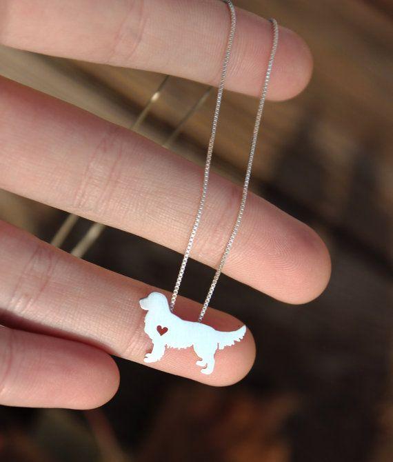 Golden Retrevier collar collar de plata por JustPlainSimple en Etsy