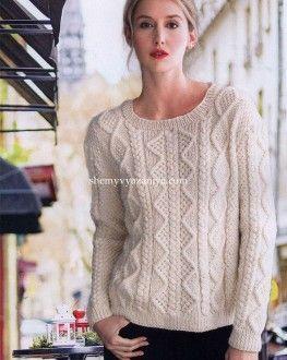 Пуловер арановыми узорами Размеры: Small/Medium, Large, X-Large, LX. На фото размер изделия Small/Medium. http://shemyvyazaniya.com/page/pulover-aranovymi-uzorami
