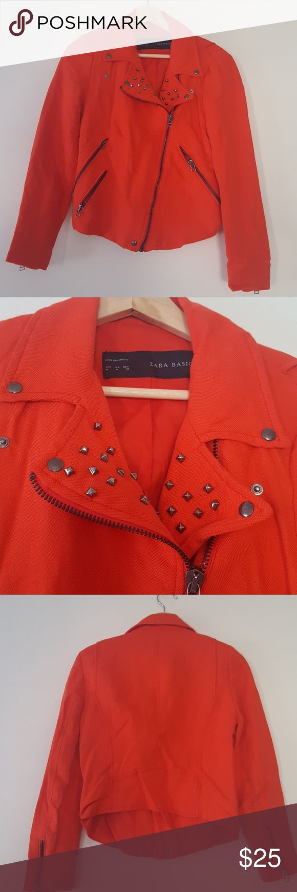 Tomato red studded linen motorcycle jacket Vibrant red motorcycle jacket with gunmetal zipper and stud details. Tight fit with a cropped back, zips on back of sleeves.  Size M, ZARA.  Cotton-linen blend, great for wearing over summer dresses. In great condition -- worn this one maybe twice. Zara Jackets & Coats Utility Jackets