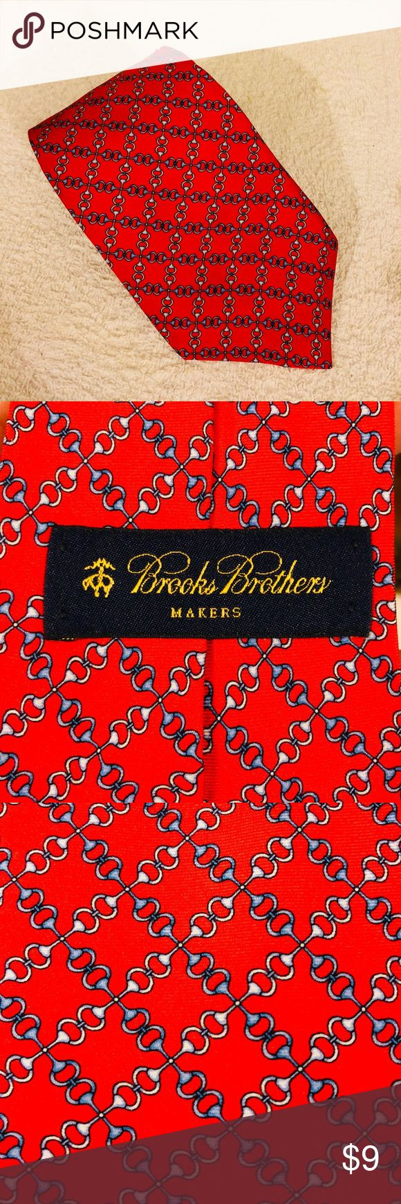 Brooks Brothers Red w/ Blue Horse Bit Pattern Tie Brooks Brothers Red With Blue and White Horse Bit Link Pattern Silk Necktie! Great condition! Please make reasonable offers and bundle! Ask questions! Brooks Brothers Accessories Ties