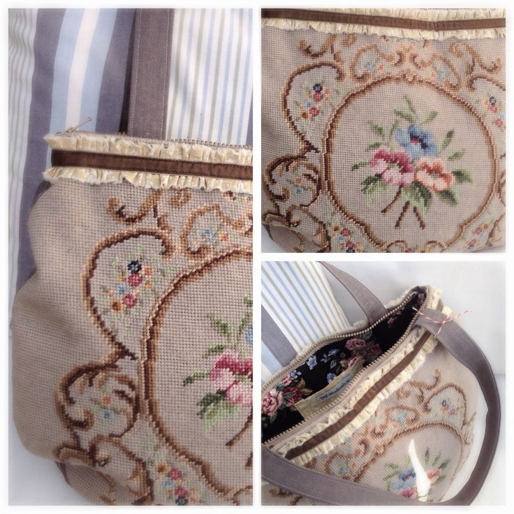 Bag/axelremsväska med vintagebroderi, rosor