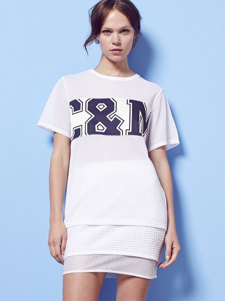 C&M by CAMILLA AND MARC - Into the Blue Tee - White - Varsity - Boyfriend Tee $99.00