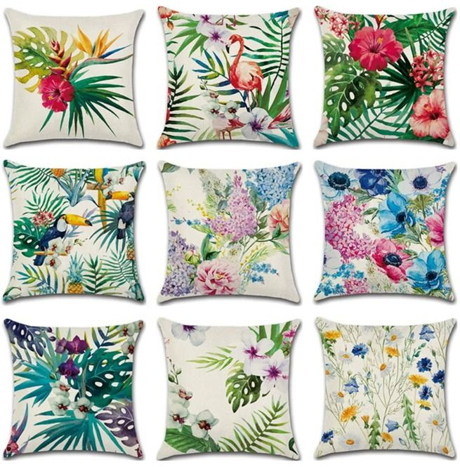 Tropical Plants Floral Print 45x45cm Cotton Pillow Cover In 2021 Plant Throw Pillow Decorative Pillow Cases Boho Throw Pillows
