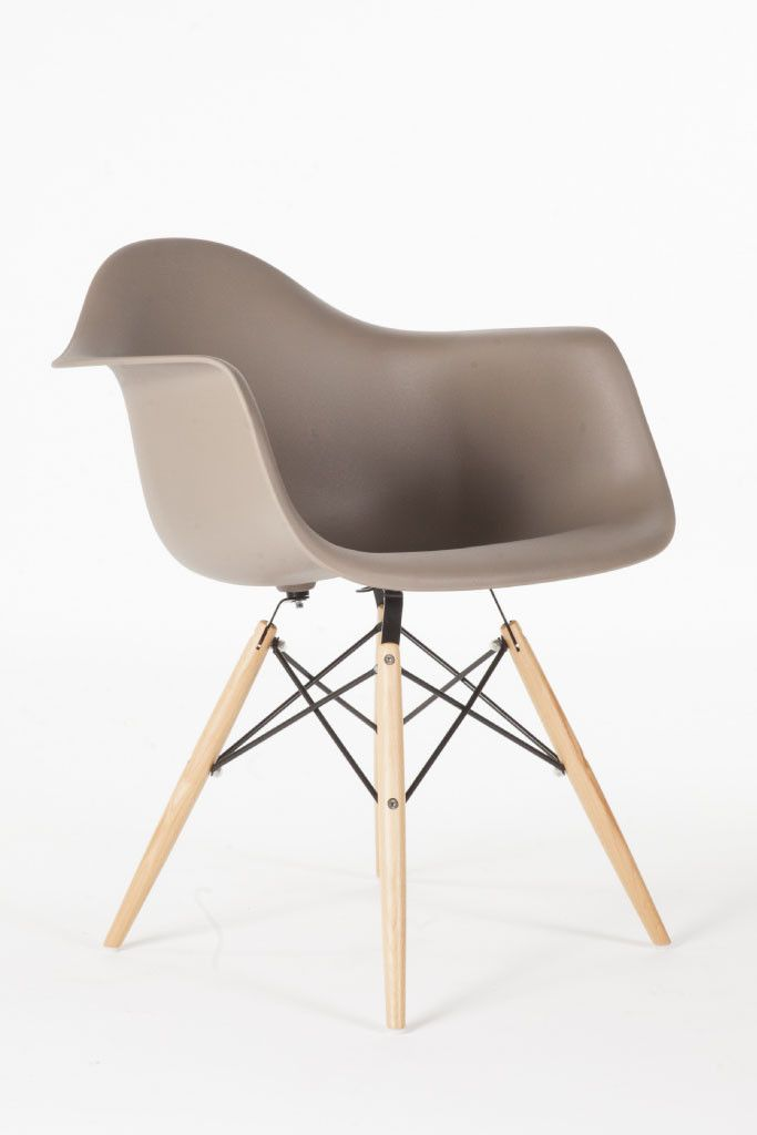 grey molded shell armchair from mako haus.