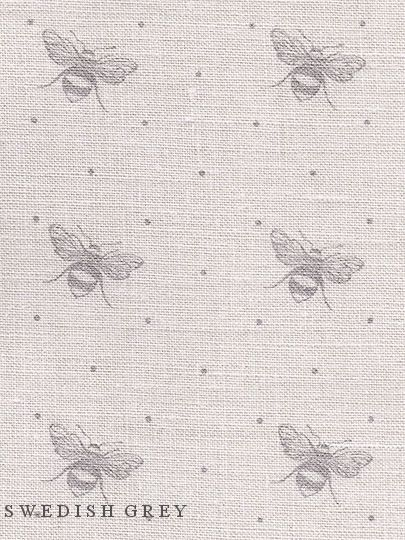Just Bees ~ Colourways Dove or Swedish Grey on Cream Linen - Peony & Sage