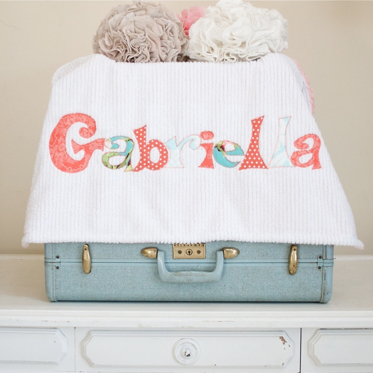 Monogrammed Baby Blanket in FROST, Coral Dot Minky and White Chenille, Personalized with Your Baby Girl's Name in Corals, Aquas, and Limes. $75.00, via Etsy.