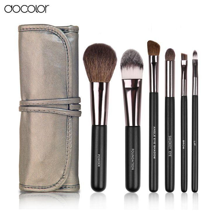 Docolor Make up Pennelli 6 pz Set con custodia in pelle Con il pennello pulito polvere fondazione dell'ombretto del sopracciglio del labbro spazzole