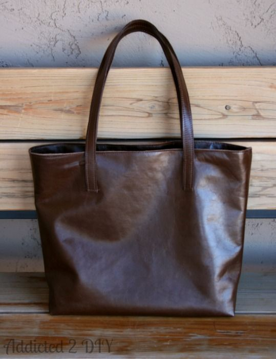 Make Your Own Leather Tote Tutorial Addicted 2 Diy Pinterest Purse And