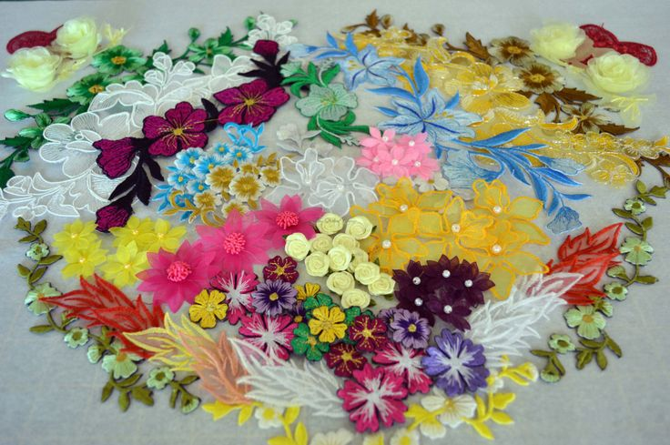 Appliques Pack, AP09, over 80 peices, embroidered, organza and ribbon flowers. by TheQuiltedCheese on Etsy