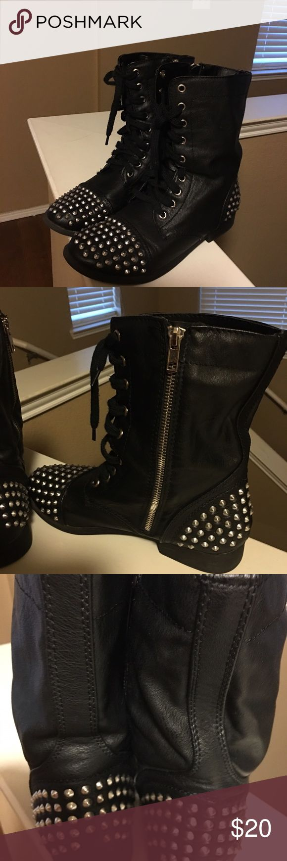 Combat Boots Black Combat Boots With Silver Spikes Shoes Combat & Moto Boots