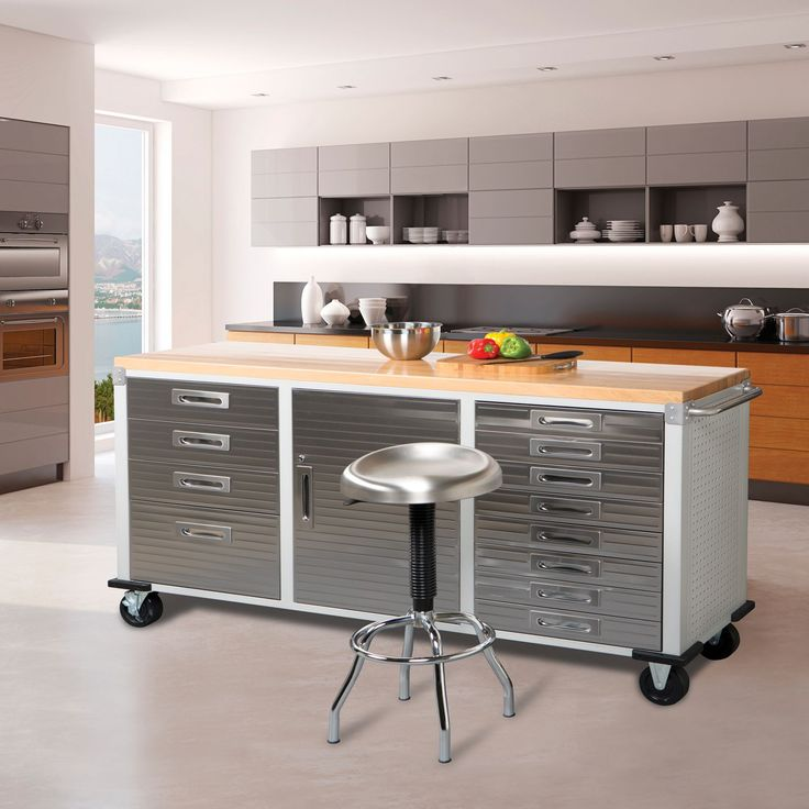 Unique Rolling Kitchen Cabinet: Seville Classics UltraHD 12-Drawer Rolling Workbench In