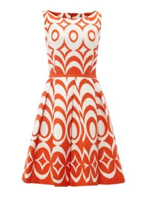 Untold Printed pleat skirt dress Orange - House of Fraser