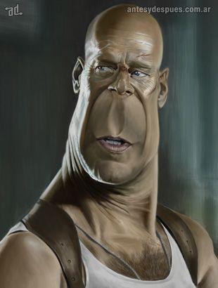 La caricatura de Bruce Willis