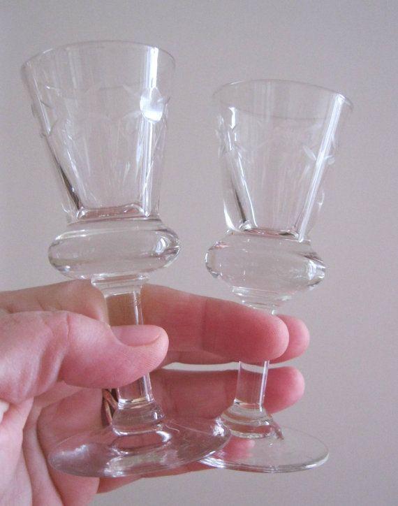 2 Beautiful Thistle Shaped Heavy Cut Glass Small Liqueur