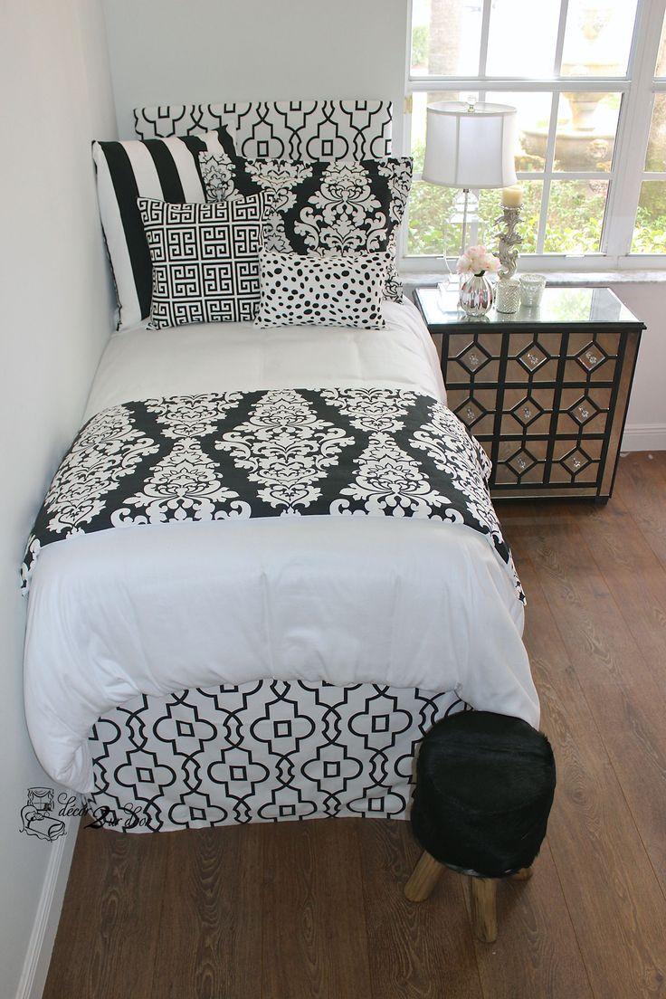 Classic Black And White Dorm Room Designer Headboard