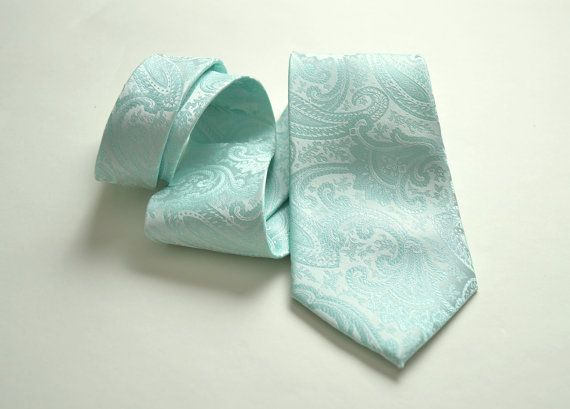 Mint Paisley Tie. Mint Wedding. Mint by ManziniCollection on Etsy