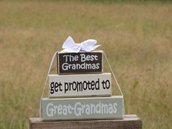 "New Grandparents Wood Block Stack: ""The Best Grandmas Get Promoted to Great-Grandmas"" - Pregnancy announcement, Grandma, Grandparents on Etsy, $30.00"