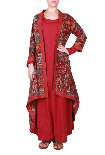 A beautiful combination of plain red Maxi dress with Kalamkari cape. This outfit is perfect to beat the heat & create a stunning contemporary statement. Dimension: Available in size XS, S, M, L, XL, XXL & XXXL
