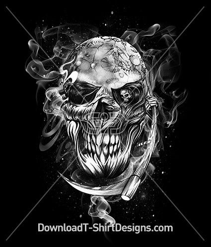 Smoking Scary Grimm Reaper Skull. Download this design & print on your T-Shirts or products today