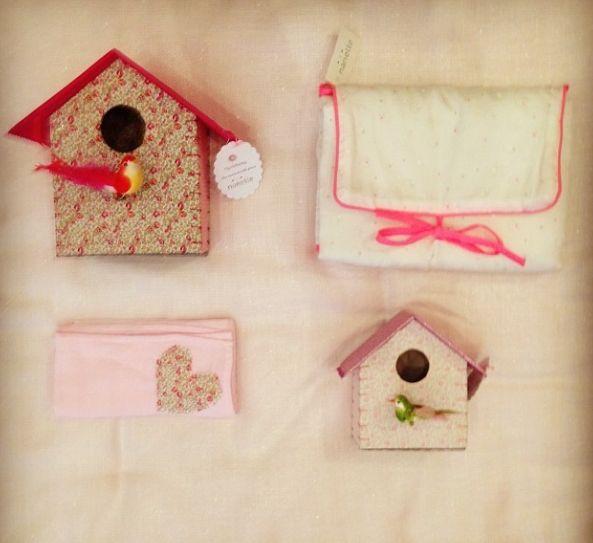 cadeaux fille, cadeau Nanelle, nichoir, oiseau, lange rose, pink, baby pink, liberty