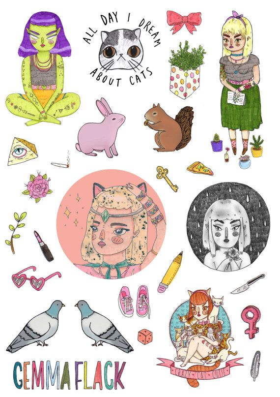 An A5 sticker sheet for you to cut out yourself, featuring all my special objects and a selections from a few of my favourite drawings.    Comes with