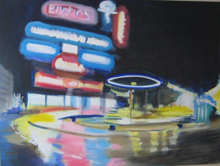 "#ElementEdenArtSearch ""Under the influence""-Kaja Weum, Oslo by night 90 * 120 cm Acrylic on canvas. www.kajaweum.com"
