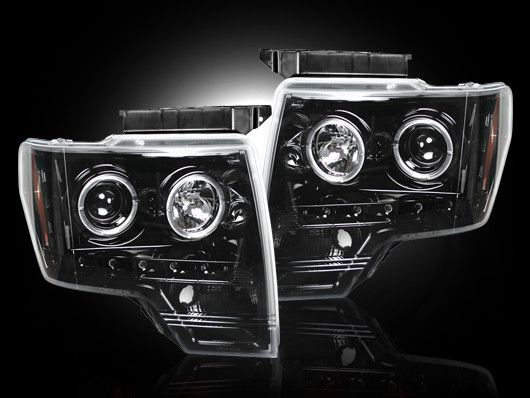 RECON Part # 264190BK  - SMOKED Projector Headlights Ford Raptor & Ford F150 F-150 2009 2010 2011 2012 2013 09-13 w LED Halos & DRLs