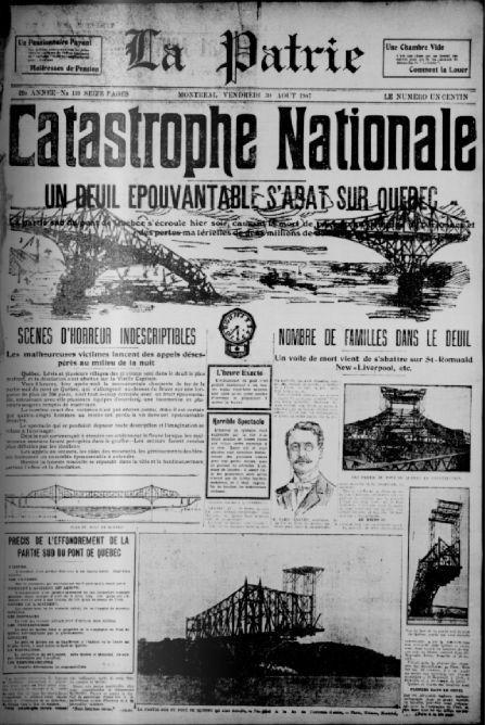 1907- Catastrophe, le pont de Québec s'est effondré. Article du journal La Patrie.