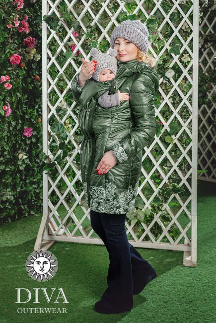 4in1 Babywearing Winter Coat Diva Pino.  Winter coat for front carrying, back carrying, regular use or during pregnancy.