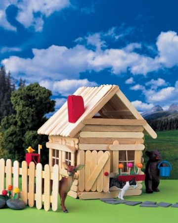 This summer, help your kids make an entire town, from hotels to snack shops, out of ice-pop sticks. Once the designs are complete, they can invite all of their favorite toys to be part of the fun.  Complete with a roof, chimney, and window box, this stick house is a favorite among civilians.