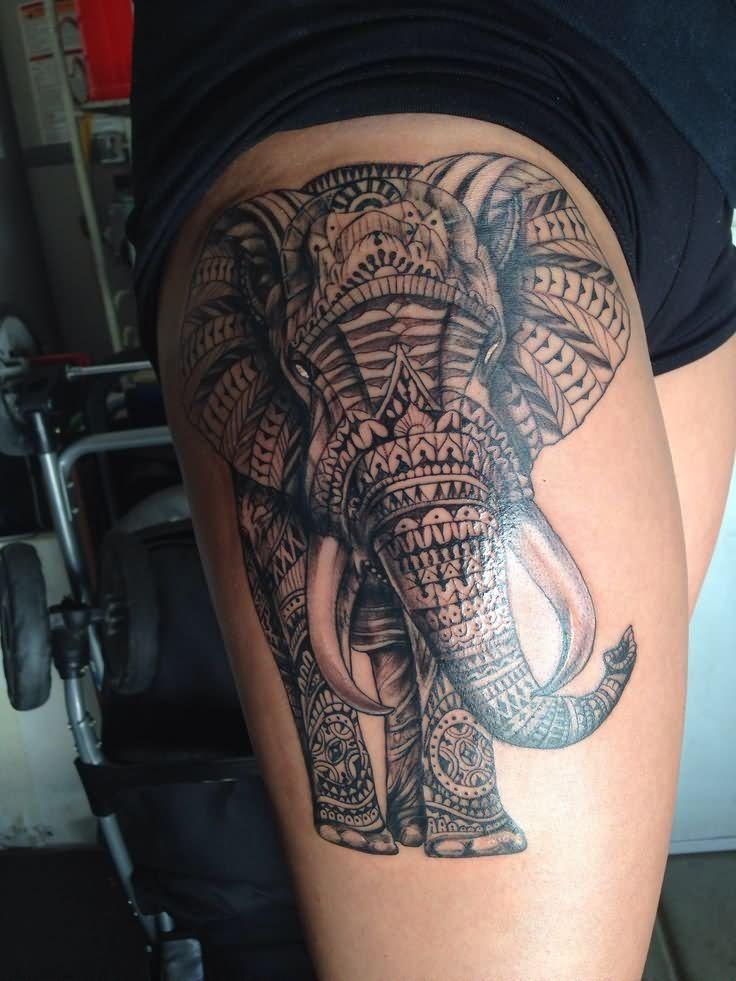 Black Ink Polynesian Elephant Tattoo On Side Thigh