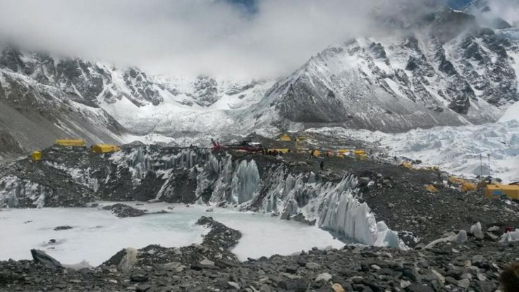 Rescuers struggle to reach remote Nepal areas as toll rises - Yahoo News A rescue chopper prepares to land, carrying people from higher camps to Everest Base Camp, Nepal, Monday, April 27, 2015. An avalanche on Saturday, set off by the massive earthquake that struck Nepal, left more than a dozen people dead and dozens more injured. (AP Photo/Nima Namgyal Sherpa)