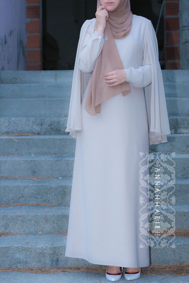 Beige cape dress annah hariri annah hariri modest wear for Annah hariri wedding dress
