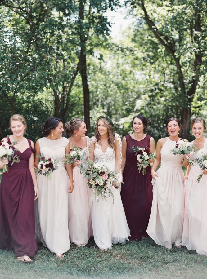 Blush and burgundy bridesmaids: http://www.stylemepretty.com/2016/11/28/southern-brunch-wedding/ Photography: Jake and Heather - http://jakeandheatherphoto.com/