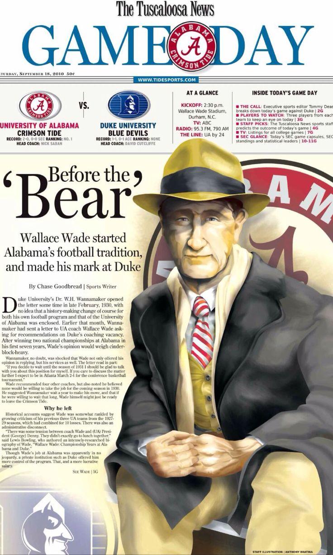 "Wallace Wade ""Before the Bear"" September 18, 2010 The Tuscaloosa News Gameday by Anthony Bratina #TuscaloosaNews #Alabama #RollTide #BuiltByBama #Bama #BamaNation #CrimsonTide #RTR #Tide #RammerJammer ""WallaceWade"""