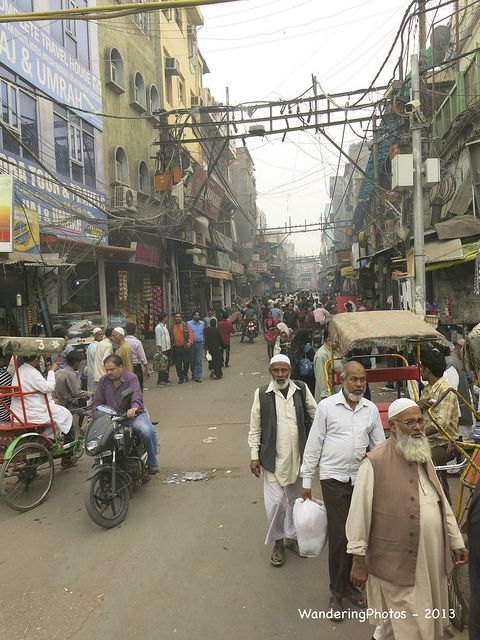 The narrow alleyways and streets of Chandni Chowk Delhi India   by WanderingPhotosPJB