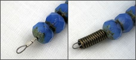 Left: no crimp bead cover; Right:  with handmade crimp bead cover. How to Make Crimp Bead Covers – Tutorial
