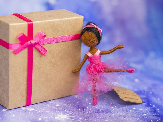 Charming Needle Felted Doll Brooch  African American Ballet
