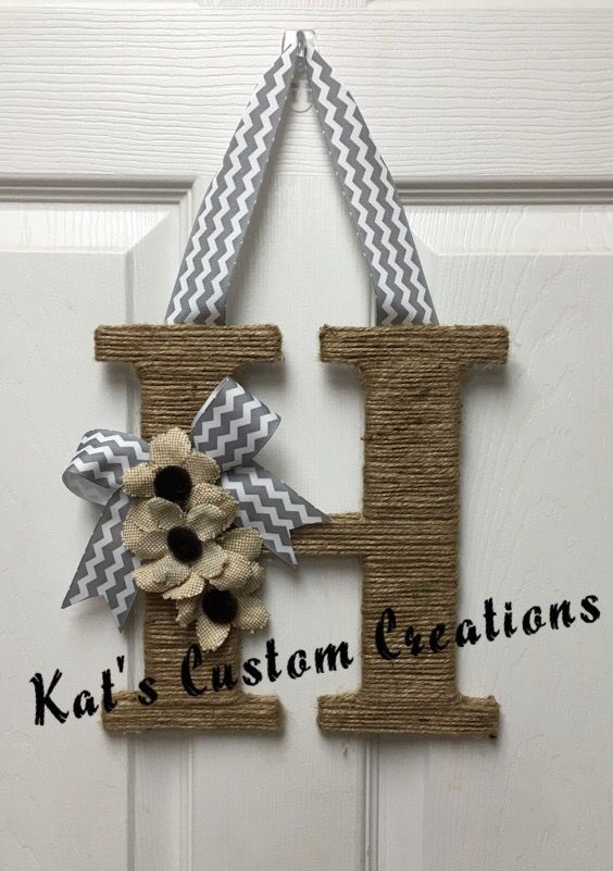 Jute And Chevron Monogram Letter H Wreath With Burlap Flowers Wreaths Pinterest