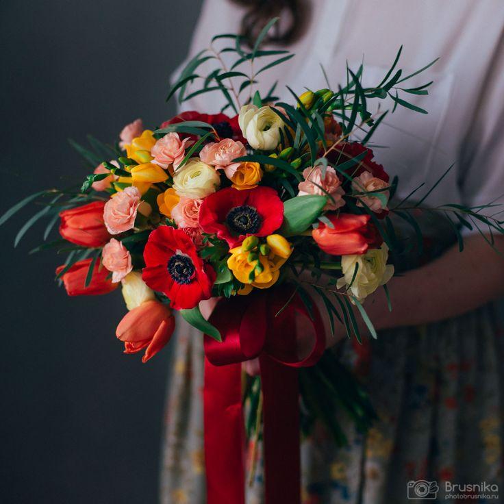 Anemone, spray carnation, eucalyptus, tulips, freesia, ranunculus