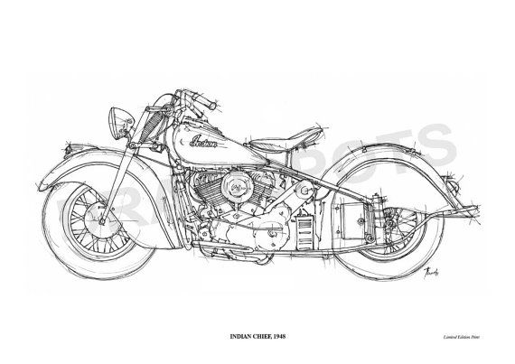 Line Art Motorcycle : Indian chief original handmade drawing fine print