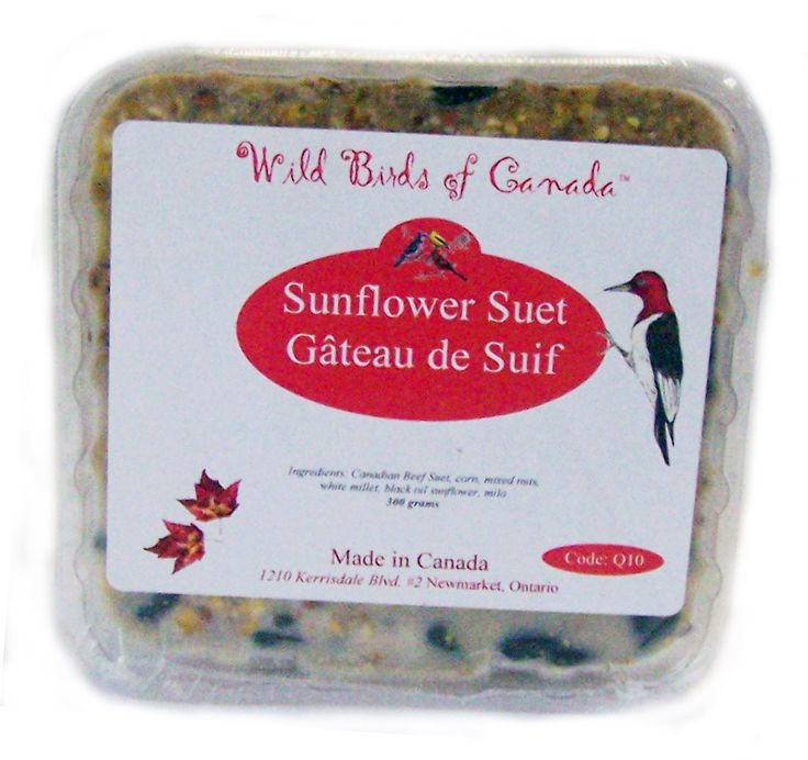 Q10  Sunflower energy suet. Economy priced and made in Canada   300 gm.  Packed 10 per case for easy counting
