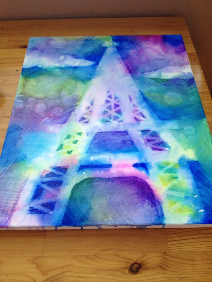 Paris Sharpie WaterColor Canvas Art (After)