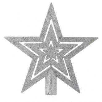 Punta del Árbol de navidad forma estrella plateado