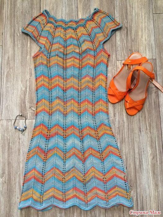 Моё радужное платье Миссони спицами