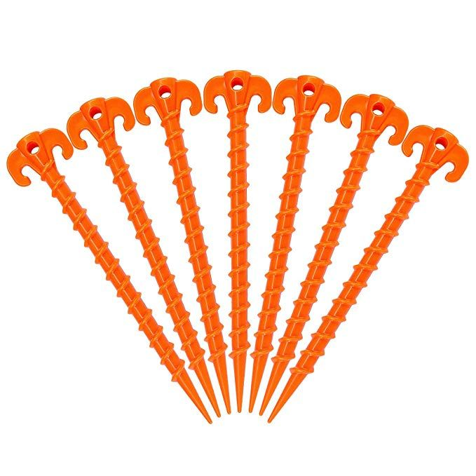 10 Inch Heavy Duty Beach Tent Pegs Canopy Stakes Essential Gear for Camping Hikemax Spiral Plastic Tent Stakes 15 Pack Gardening and More Backpacking