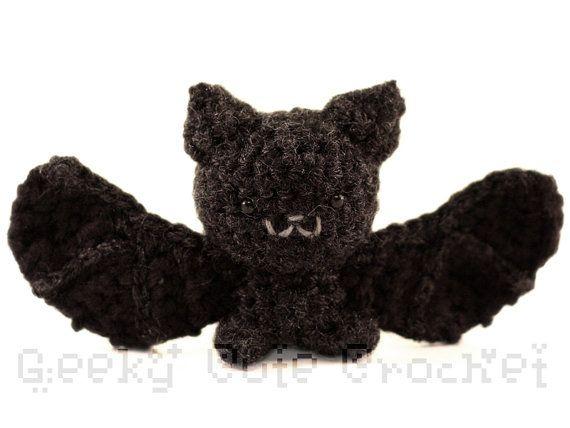 Silver Haired Bat Amigurumi Cute Black Bat Crochet Toy Stuffed Animal